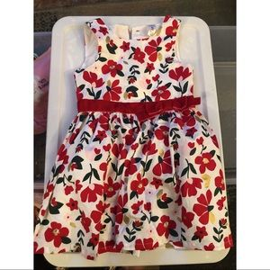 Carters Christmas Red Flower Dress 4T